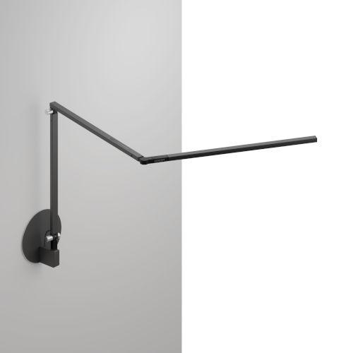 Z-Bar Metallic Black LED Slim Desk Lamp with Hardwire Wall Mount