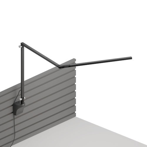 Z-Bar Metallic Black LED Slim Desk Lamp with Slatwall Mount