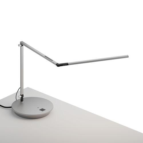 Z-Bar Silver LED Slim Desk Lamp with Power Base