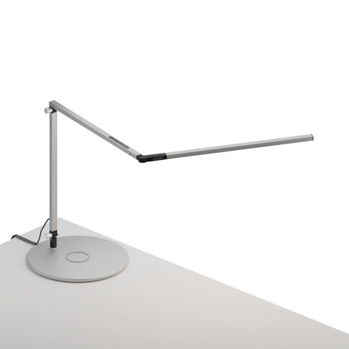 Z-Bar Silver LED Slim Desk Lamp with Wireless Charging Qi Base