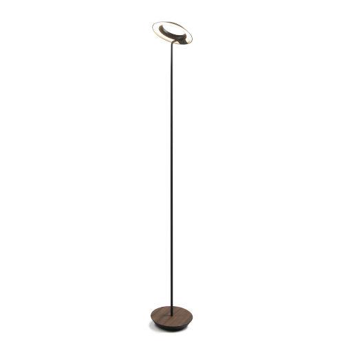Royyo Matte Black and Oiled Walnut LED Floor Lamp