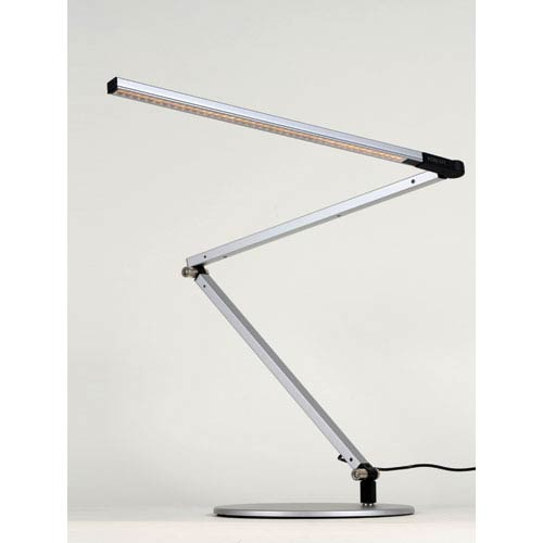 Z-Bar Silver LED Desk Lamp with Base - Cool Light