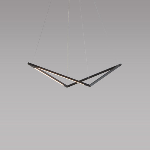 Z-Bar Pendant Matte Black 34-Inch LED Damp Rated Bird Pendant