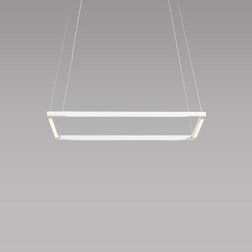 Z-Bar Pendant Matte White 18-Inch LED Damp Rated Square Pendant