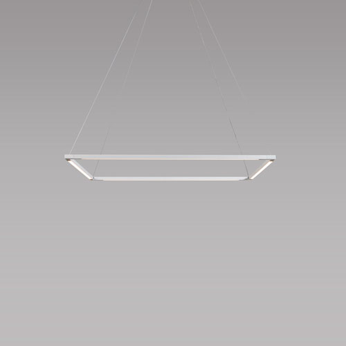 Z-Bar Pendant Matte White 26-Inch LED Damp Rated Square Pendant