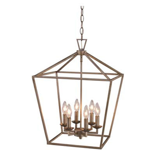 Trans Globe Lighting Lacey Antique Silver Leaf 16-Inch Six-Light Pendant