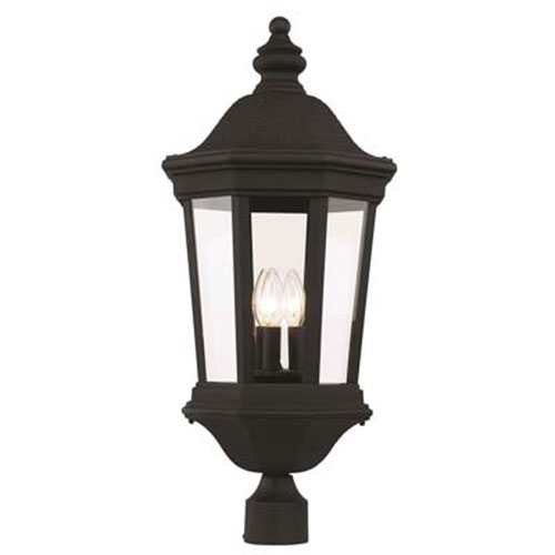 Westfield Black 12-Inch Three-Light Post Mount Lantern