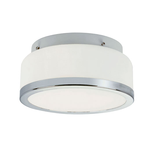 Trans Globe Lighting Polished Chrome Round Opal 8-Inch Flush Mount with White Frosted Glass
