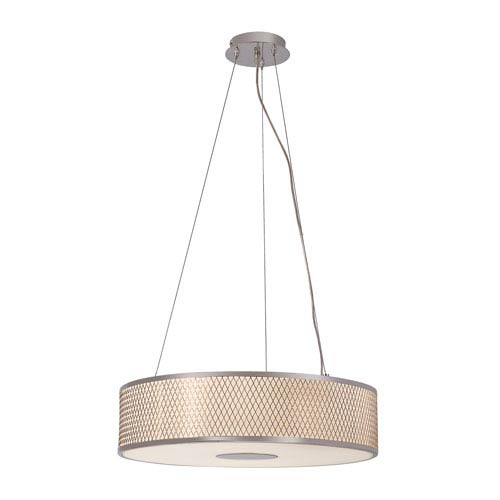 Trans Globe Lighting Diamond Grill Polished Chrome 20-Inch Four Light Adjustable Pendant with Acrylic White Frosted, Drum