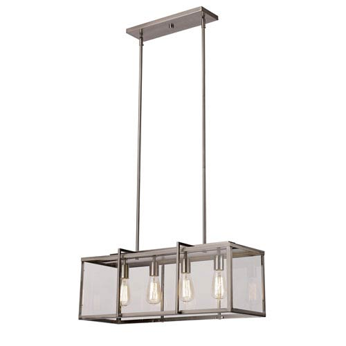 Brushed Nickel Four-Light 28.5-Inch Deep Pendant