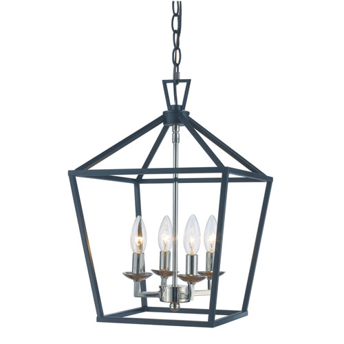Lacey Polished Chrome and Black Four-Light Pendant
