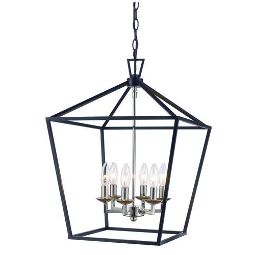 Trans Globe Lighting Lacey Polished Chrome and Black 16-Inch Six-Light Pendant