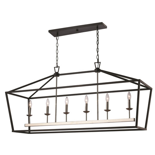 Lacey Polished Chrome and Black 49-Inch Six-Light Pendant