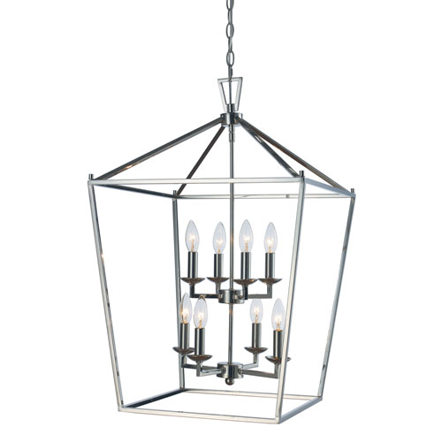 Lacey Polished Chrome 19 Inch Eight Light Pendant