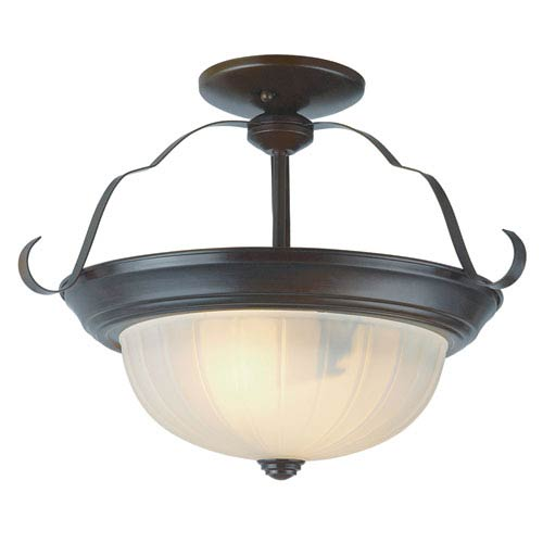 Trans Globe Lighting Classic 13 Inch Melon Semi Flushmount Bronze