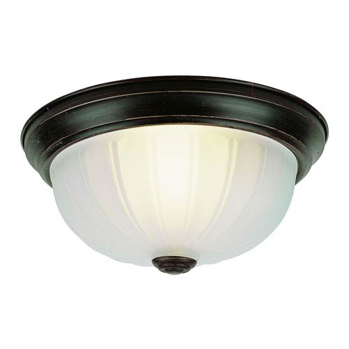 Trans Globe Lighting Flush-Mount -Rubbed Oil Bronze Withite Frosted Glass