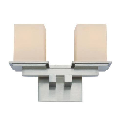 Brushed Nickel Two-Light Square Double Sconce