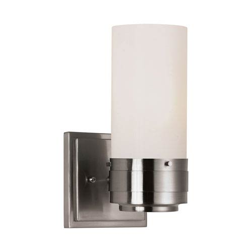 Trans Globe Lighting Brushed Nickel Solstice Wall Sconce with White Frosted, Cylinder