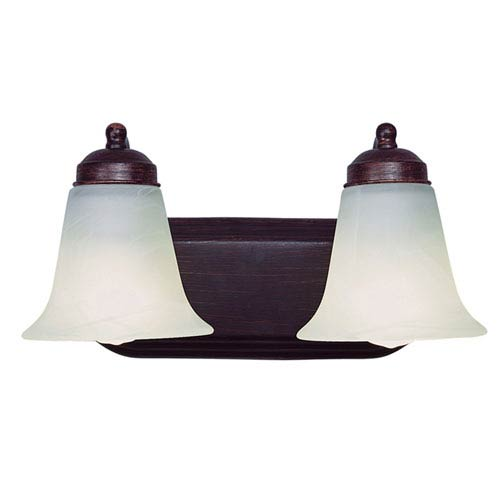 Morgan House Rubbed Oil Bronze Two Light Bath Fixture Up with White Marbleized