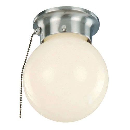 Trans Globe Lighting Idlewyld Brushed Nickel Pull Chain 6-Inch Flush Mount with Opal Globe Glass