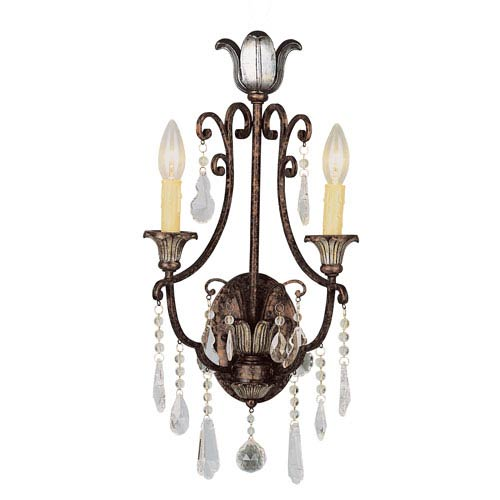 Crystal Flair Two-Light Crystal Wall Sconce with Crystal