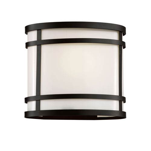 Trans Globe Lighting Cityscape Black Oval 7-Inch Wall Sconce with White Frosted Glass