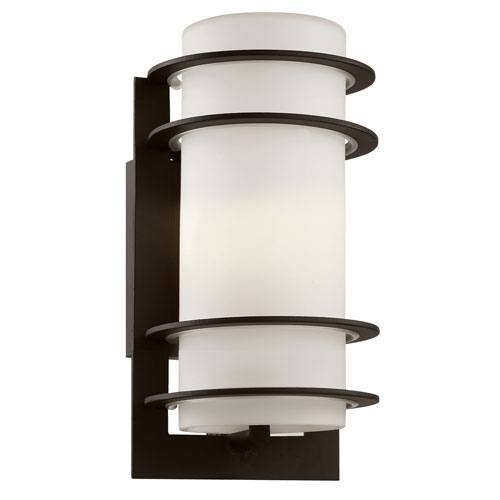Trans Globe Lighting Cityscape Black Torch 11-Inch Wall Sconce with White Frost Glass