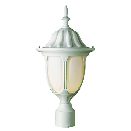 One-Light White Outdoor Post Light with Opal Glass