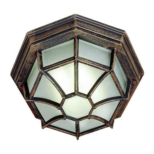 Trans Globe Lighting Wagoneel Rust 11-Inch Outdoor Flush Mount Ceiling Light
