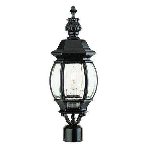 Three-Light Black Medium Outdoor Post Mount with Beveled Glass