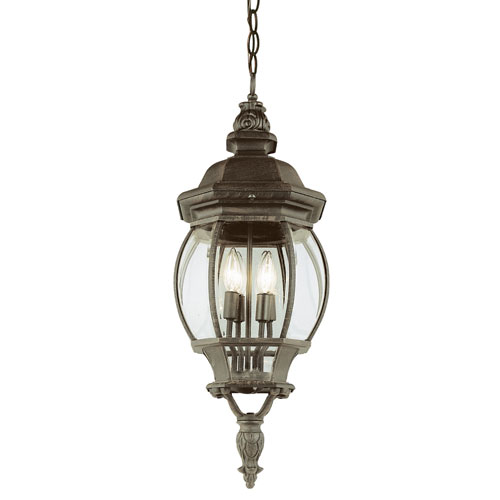 Four-Light Rust Large Outdoor Pendant with Beveled Glass