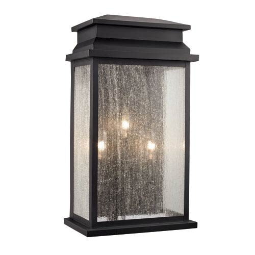 Black 11-Inch Three-Light Outdoor Wall Sconce