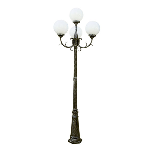 Madison 89 Inch 4 Globe Four-Light Outdoor Lamp Post -Swedish Iron