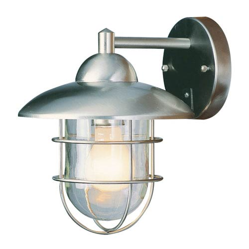 One Light Stainless Steel Outdoor Lantern With Clear Gl