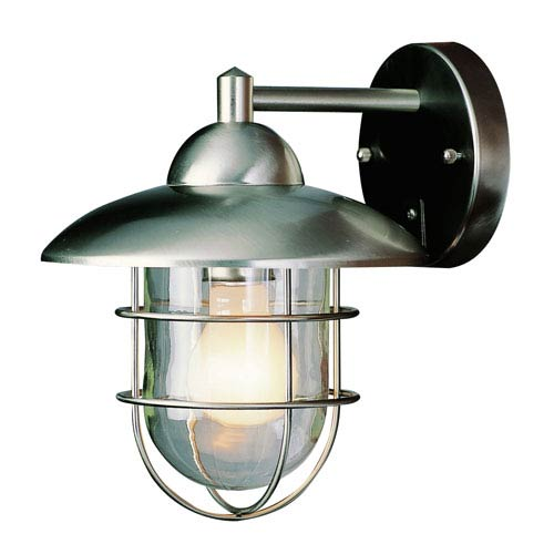 One-Light Stainless Steel Outdoor Lantern with Clear Glass