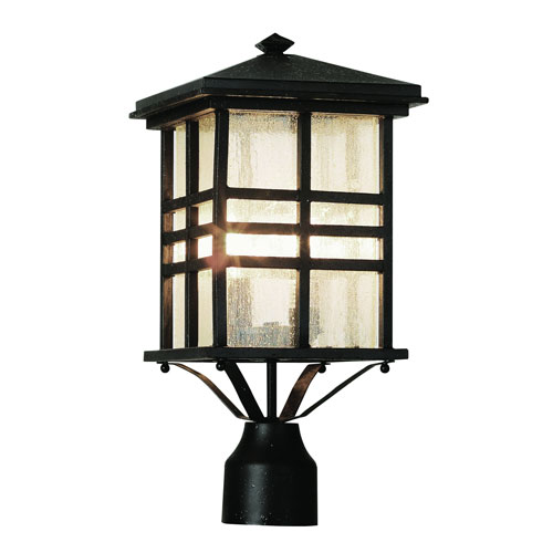 Trans Globe Lighting Craftsman Dark Bronze 16-Inch Post Top Lantern with Clear Seeded Rectangle Glass