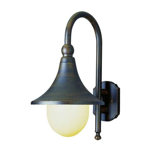 Black Gold Finished Transglobe Lighting 4184 BG Outdoor Wall Light with Seeded Glass Shade
