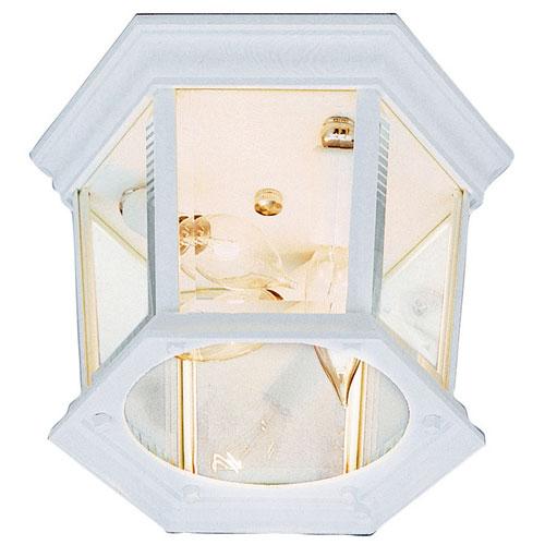 Hexagon White 9 1/4-Inch Wide Three-Light Outdoor Flush Mount Ceiling Light