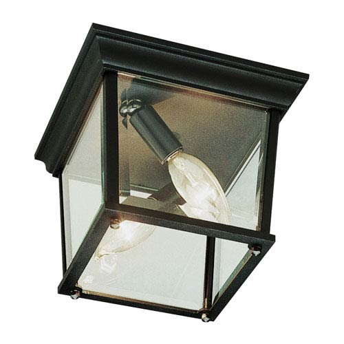 Cubed Rust 9 1/4-Inch Wide Outdoor Flush Mount Ceiling Light