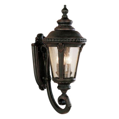 Three-Light Rust Uplight Medium Outdoor Wall Light