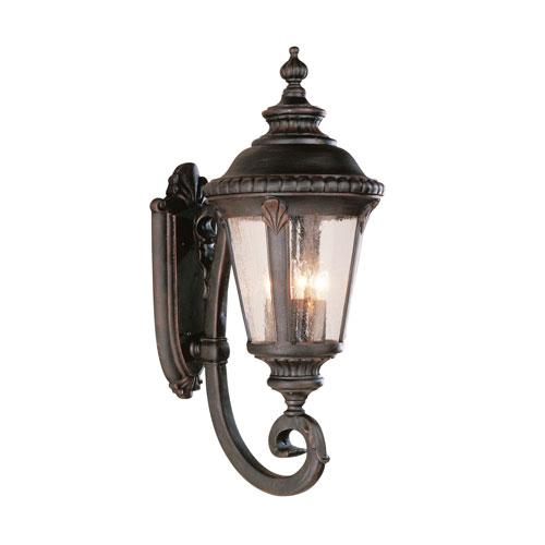 Four-Light Rust Uplight Large Outdoor Wall Light