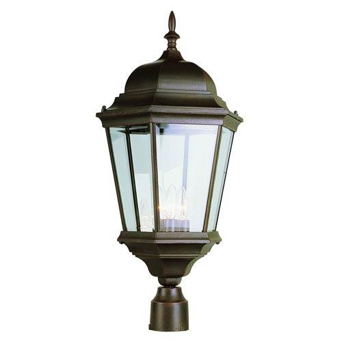 Three-Light Rust Outdoor Post Light