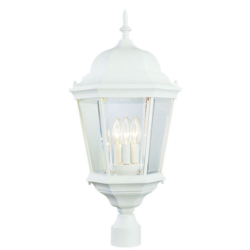 26 1/2 Inch Three-Light Post Top Lantern -White