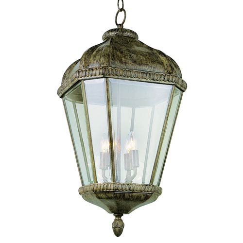 Four-Light Burnished Rust Large Outdoor Pendant