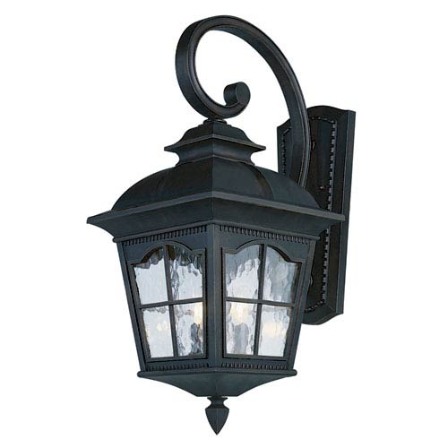 Chesapeake 25 Inch Outdoor Three-Light Wall Light Fixture -Black