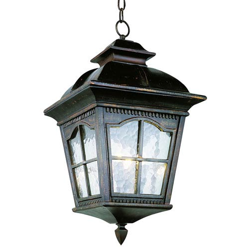 Three-Light Antique Rust Medium Outdoor Pendant