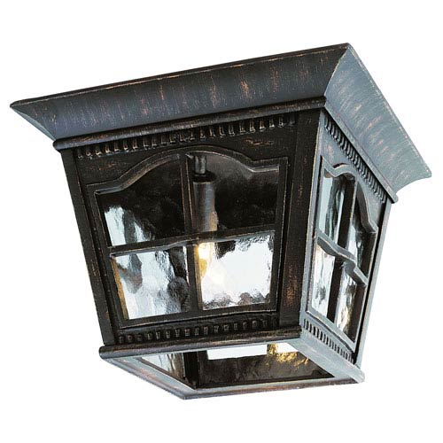 Trans Globe Lighting Three-Light Antique Rust Large Outdoor Flush Mount