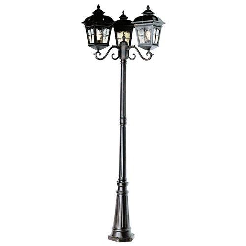 Chesapeake 85 Inch Tall Three Lantern Lamp Post -Black