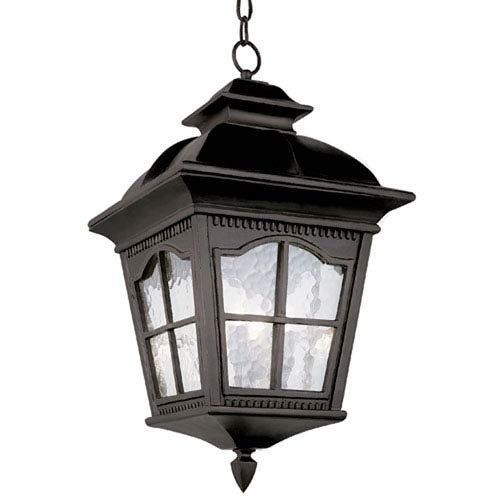 Trans Globe Lighting Black Chesapeake 16-Inch High Outdoor Wall Pocket with Clear Water Glass