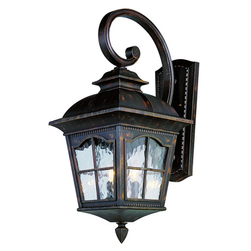 Two-Light Antique Rust Small Outdoor Wall Light